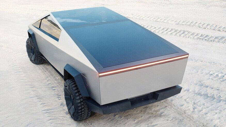 Пикап Тесла на пляже